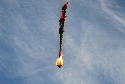 Пожар на воздушном шаре и его падение