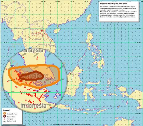 Карта пожаров на Суматре июнь 2013 года