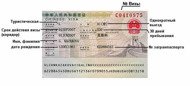 документы для визы в китай